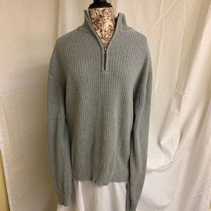 Calvin Klein Gray Sweater XL 100% Cotton 1/4 Zip